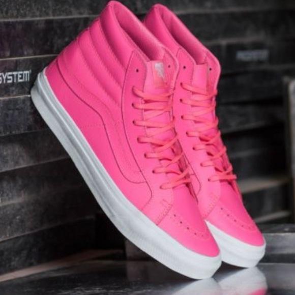 9f37e5e79ba886 NWT Vans Sk8-Hi Slim Neon Pink Leather